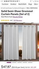 Nikki Miller Solid Semi sheer Grommet Panel Curtains