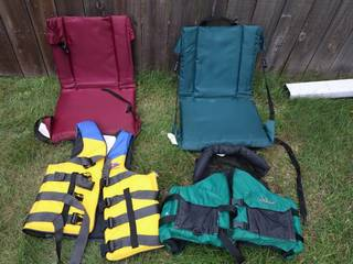 Lot of Life Jackets And stadium Seat cushions