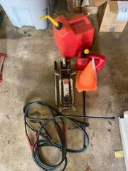 1.5 ton floor jack, saftey cones, and gas cans