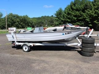 16' alum. fishing boat w/motor & trailer