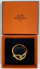 Hermes Fontainebleau Scarf Ring In Box Gold Plate