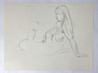 Paul Cadmus Original Nude Drawing Signed 8.5