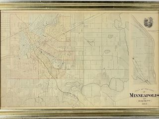 1874 Map Of Minneapolis Double Sided