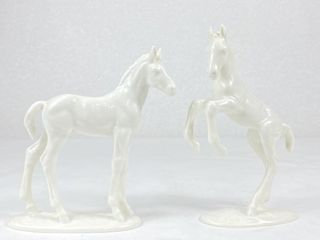(2) Porcelain Hutschenreuther Selb Horse Figurines