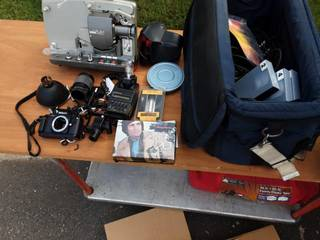 Large Lot Of Camera Related Equipment With Porta Brace Bag