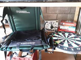 Pair Of Gander Mountain Stadium Seats, Dart Board, Shot Clock Timer, Sports & Other Books