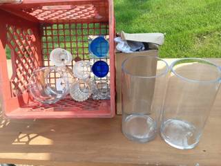 Milk Crate With Many New Glass Vases & Candle Holders