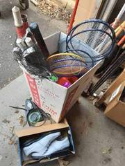 Box Of Sporting Goods-Golf Ball Return & Shoes, Badminton Net & Raquets, Inflatable, Bubbles, Toys & More