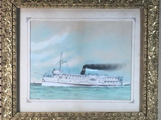 UNSIGNED  CAMBRIA  PADDlE BOAT PASTEl SKETCH