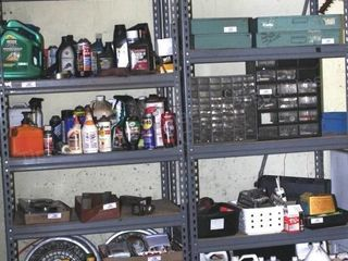 pair of garage shelves