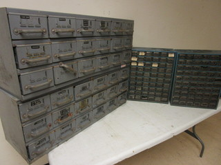 EQUIPTO METAL FILE CABINETS, HARDWARE STORAGE UNITS WITH MISCELLANEOUS HARDWARE