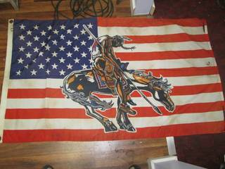 American Flag With Indian Riding Ho...