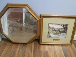 Framed Frosted Glass Deer Print & W...