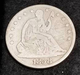 1858-O US SEATED LIBERTY HALF DOLLAR SCRATCHES