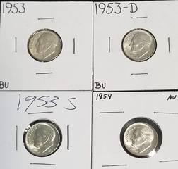 4 AU-UNC ROOSEVELT SILVER DIMES 1953 P-D-S 1954