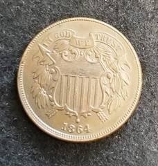 1864 US TWO CENT PIECE UNC