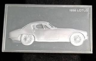 VINTAGE 1958 LOTUS 1000 GRAINS (2.08 TROY OZ) STERLING SILVER ART BAR