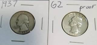 2 WASHINGTON QUARTERS 1937 1962 (PROOF)