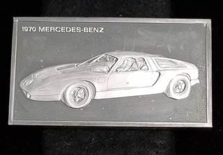 VINTAGE 1970 MERCEDES 1000 GRAINS (2.08 TROY OZ) STERLING SILVER ART BAR
