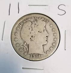 1911-S BARBER HALF DOLLAR