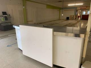 Paint counter with steel top...