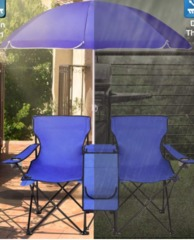 Double Picnic Beach Camping Folding Chair And Umbrella