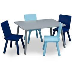 Delta Children Kids Table and Chair Set 4 Chairs Included - Gray/Blue