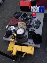 Skid of misc hats and bags