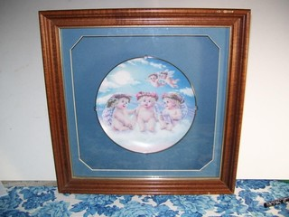 FRAMED UNDER GLASS DREAMSICLE PLATE - WITH PAPERWO