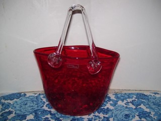 RED ART GLASS BASKET