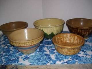 VERY OLD STONEWARE BOWLS - SOME DAMAGE