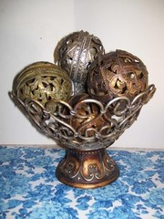 DECORATIVE METAL BOWL WITH BALLS