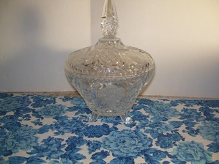 2 PC LEAD CRYSTAL CANDY DISH