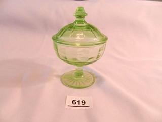 Green Glass Sugar Bowl w lid