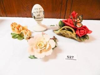 Porcelain Type Flower Figurines