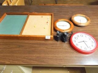 Clocks  Binoculars  Cork Chalk Board