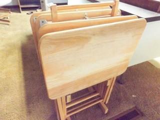 TV Tray Set with Holder  4 Trays