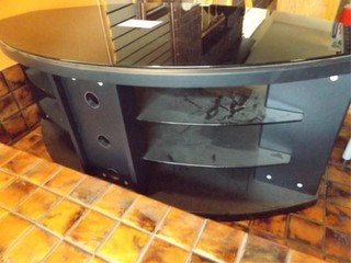 TV Stand with Glass Top  Shelves