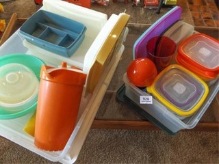 Tubs of Plastic Ware  some Tupperware