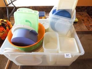 Tub of Plastic Ware  some Tupperware