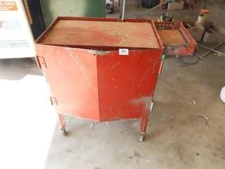 Metal Red Rolling Cart  27  x 29  x 15
