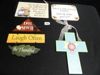 Cross and Wooden Signs w Sayings