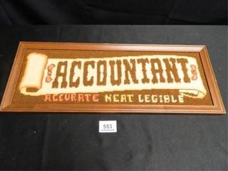 Accountant Sign  Cross Stitch