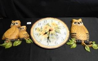 Wall Clock w Daisy  2 Owls