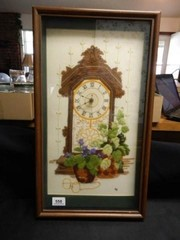 Crewel Embroidery w Clock