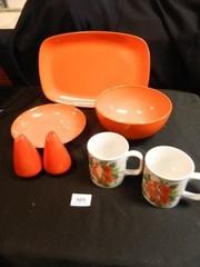 Platter  2 Bowls  2 Mugs Floral