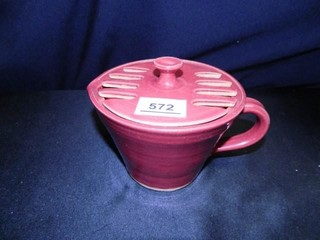 Pottery Pitcher w lid  Signed