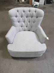 Bentley Button Tufted Accent Chair with Nail Head Trim, Grey-White 92005-16GY