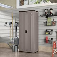 Suncast 72 in. H x 30 in. W x 20.25 in. D 3-Shelf Resin Tall Storage Freestanding Cabinet in Platinum BMC7200