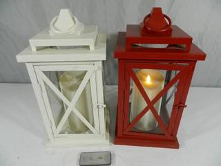 Pair of Luminara Flameless Candles with Lanterns